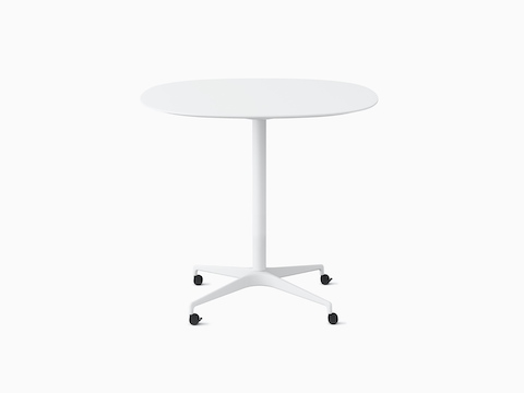 A soft square Civic Table with a white top at standing height.