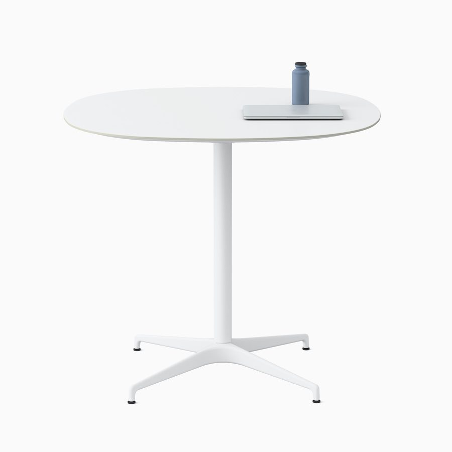 A soft square white Civic Table at standing height.
