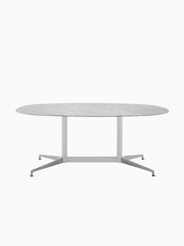 An oval Civic Table with a white marble top.
