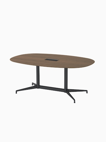 An oval Civic Table with a walnut top and black legs. Select to go to the Civic Tables product page.