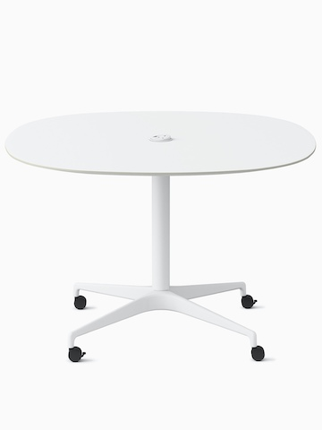 A soft square white Civic Table at work height with a centrally placed power solution. Select to go to the Civic Tables product page.