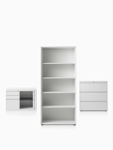 A CK8 right-hand return cabinet with shutter door compartment, CK8 open shelf high cabinet and CK8 three-high lateral filing mid-height cabinet.