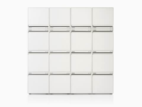 CKL staff locker w4 x h4 stack-on modular in white.
