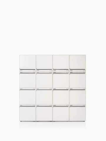 CKL staff locker w4 x h4 stack-on modular in white. Select to go to the CKL Keyless Storage product page.