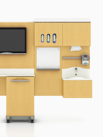 A wall of modular healthcare storage components from the Compass System. Select to go to the Compass System product page.