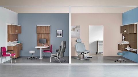 Two exam rooms featuring patient recliners and Compass System modular healthcare storage.