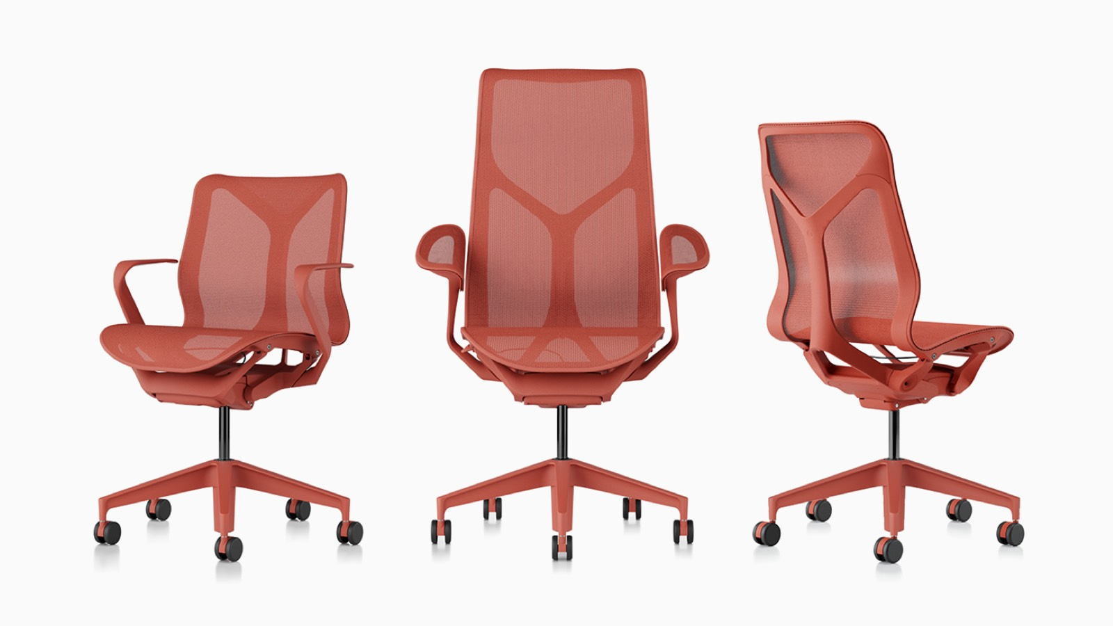 Low-back, high-back, and mid back Cosm ergonomic desk chairs with suspension materials, bases, and frames in Canyon red.