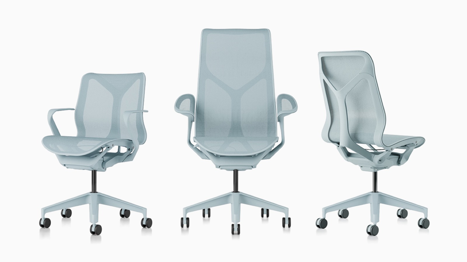 Low-back, high-back, and mid-back Cosm ergonomic desk chairs with suspension materials, bases, and frames in Glacier light blue.
