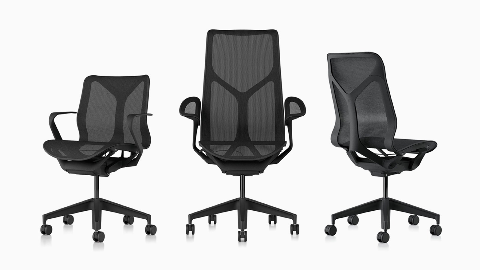 Low-back, high-back, and mid-back Cosm ergonomic desk chairs with suspension materials, bases, and frames in Graphite dark grey.