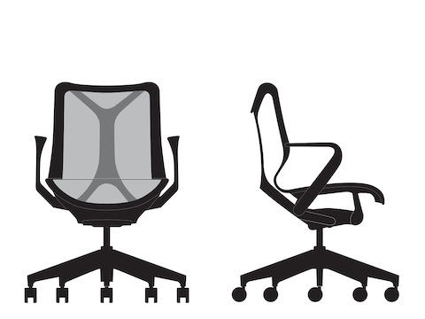 Front and side view line art of a low-back Cosm Chair.