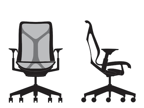 Front and side view line art of a mid-back Cosm Chair.