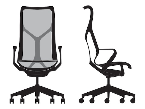 Front and side view line art of a high-back Cosm Chair.