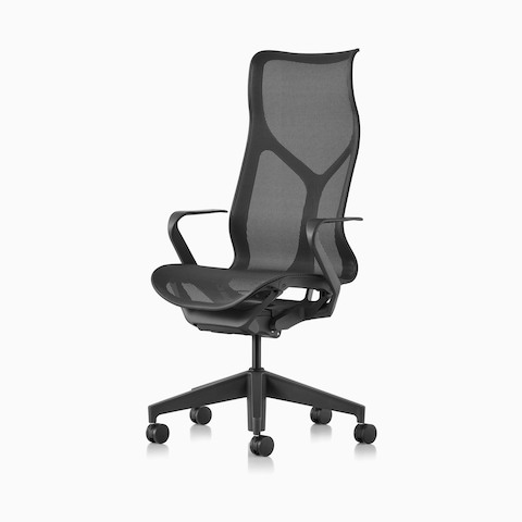 A high-back Cosm Chair with fixed arms and Graphite dark grey frame and suspension material.