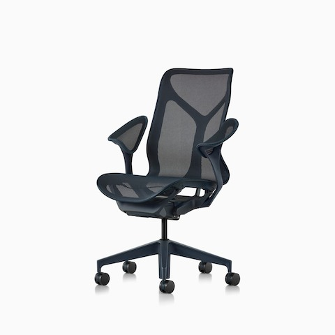 A mid-back Cosm ergonomic desk chair with leaf arms and Nightfall dark blue frame and suspension material.