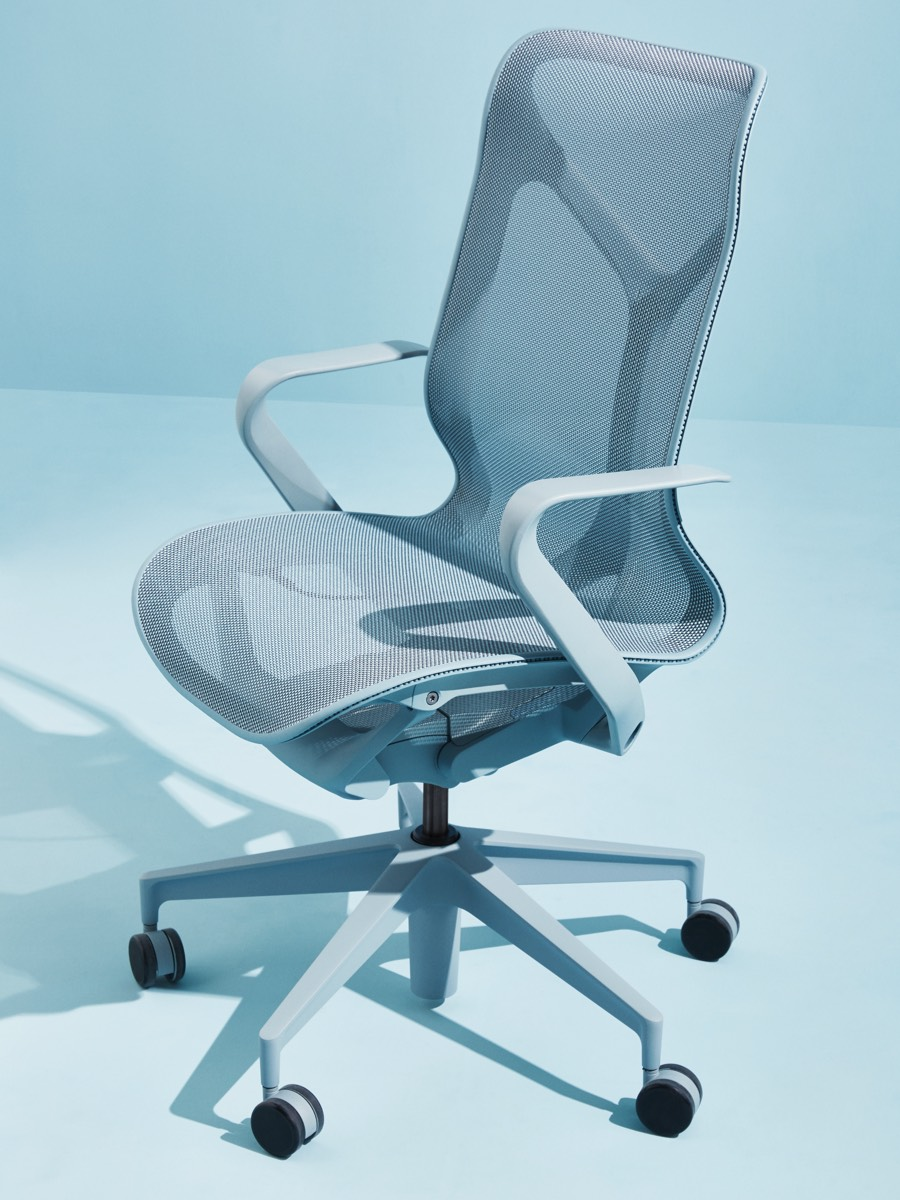 A Glacier light blue mid-back Cosm Chair on a light blue background.
