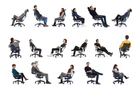 A variety of members of Studio 7.5 sitting in low-, mid-, and high-back Cosm Chairs, reclining, sitting forward, and relaxing.