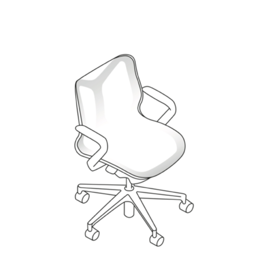 Three-quarter front view line art of a Cosm low-back chair.