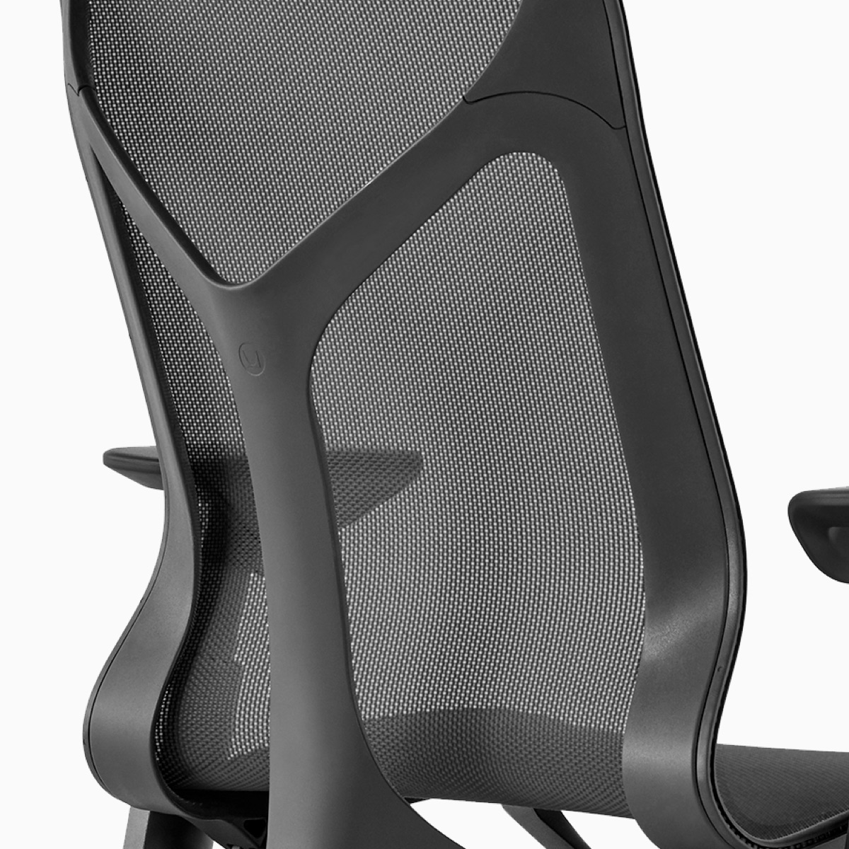 Back view of a graphite mid-back Cosm Chair.