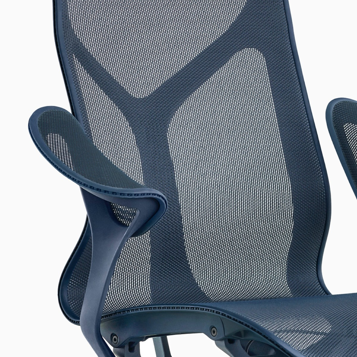 Front view of a navy mid-back Cosm Chair.