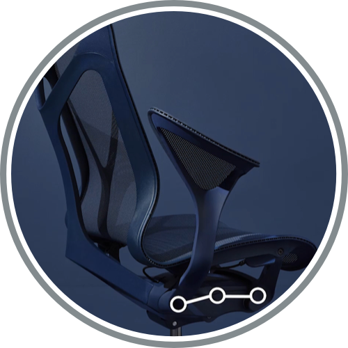 A high-back Cosm office chair with Leaf Arms in Nightfall dark blue. Select to learn more about Cosm's ergonomic design.