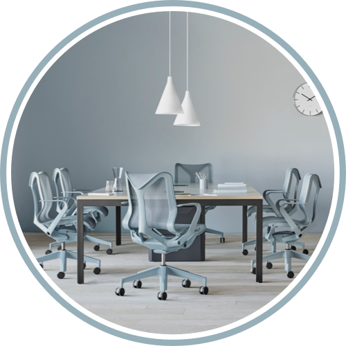 Cosm chairs around a table in an office setting. Select to specify Cosm.