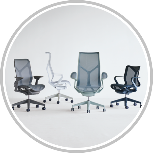 A grouping of Graphite gray, Mineral gray with white frame, Nightfall navy blue, and Glacier light blue Cosm Chairs. Select to connect with us to learn how Cosm can meet the needs of your organization.