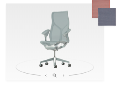A front three-quarter view of a Cosm high-back chair in Glacier light blue from the product configurator, along with red and navy color swatches.  Select to visit the Cosm configurator tool.