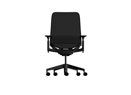 All black line art of a Cosm mid-back chair with adjustable arms. Select to download 3D models of Cosm to use in your project.
