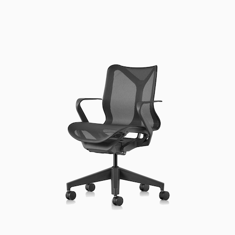 Three-quarter front view of a graphite Cosm low-back chair.