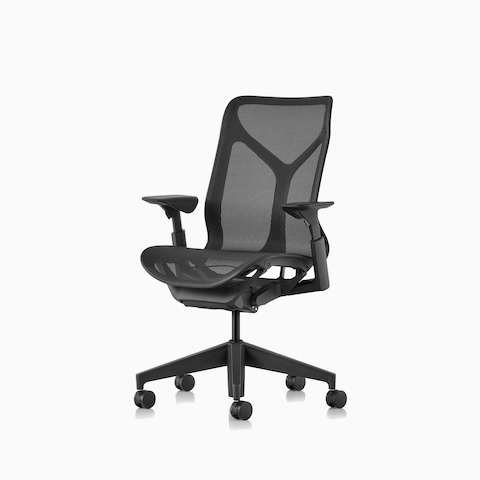 Three-quarter front view of a graphite Cosm mid-back chair.
