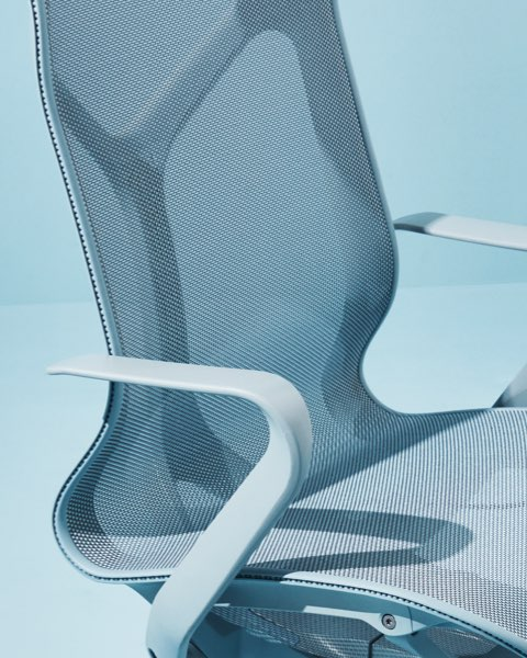 A Cosm ergonomic office chair in Glacier light blue.