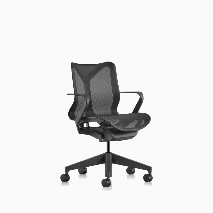 Three quarter front view of a Cosm low-back chair with fixed arms and Graphite gray frame and suspension material.