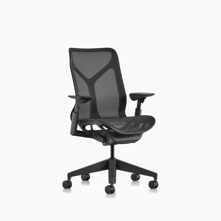 Three quarter front view of a Cosm mid-back chair with height-adjustable arms and Graphite gray frame and suspension material.