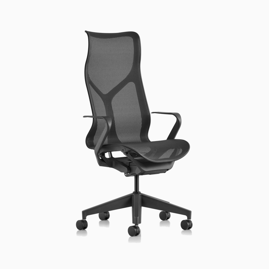Three quarter front view of a Cosm high-back chair with fixed arms and Graphite gray frame and suspension material.