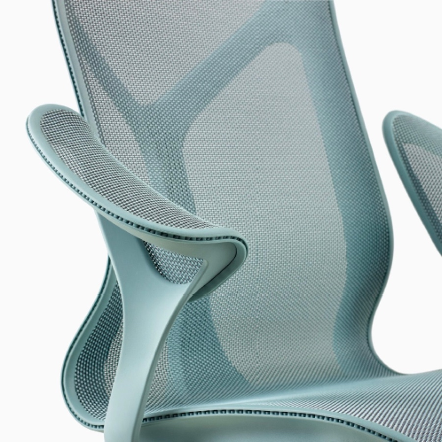 A mid-back Cosm Chair with Leaf Arms and Glacier light blue frame and suspension material.