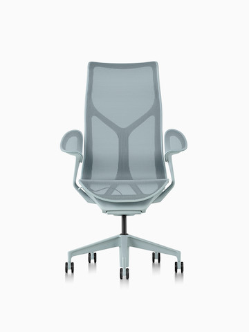 A high-back Cosm Chair with leaf arms in Glacier light blue.