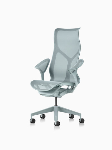 A high-back Cosm Chair with leaf arms in Glacier light blue. Select to go to the Cosm Chairs product page.