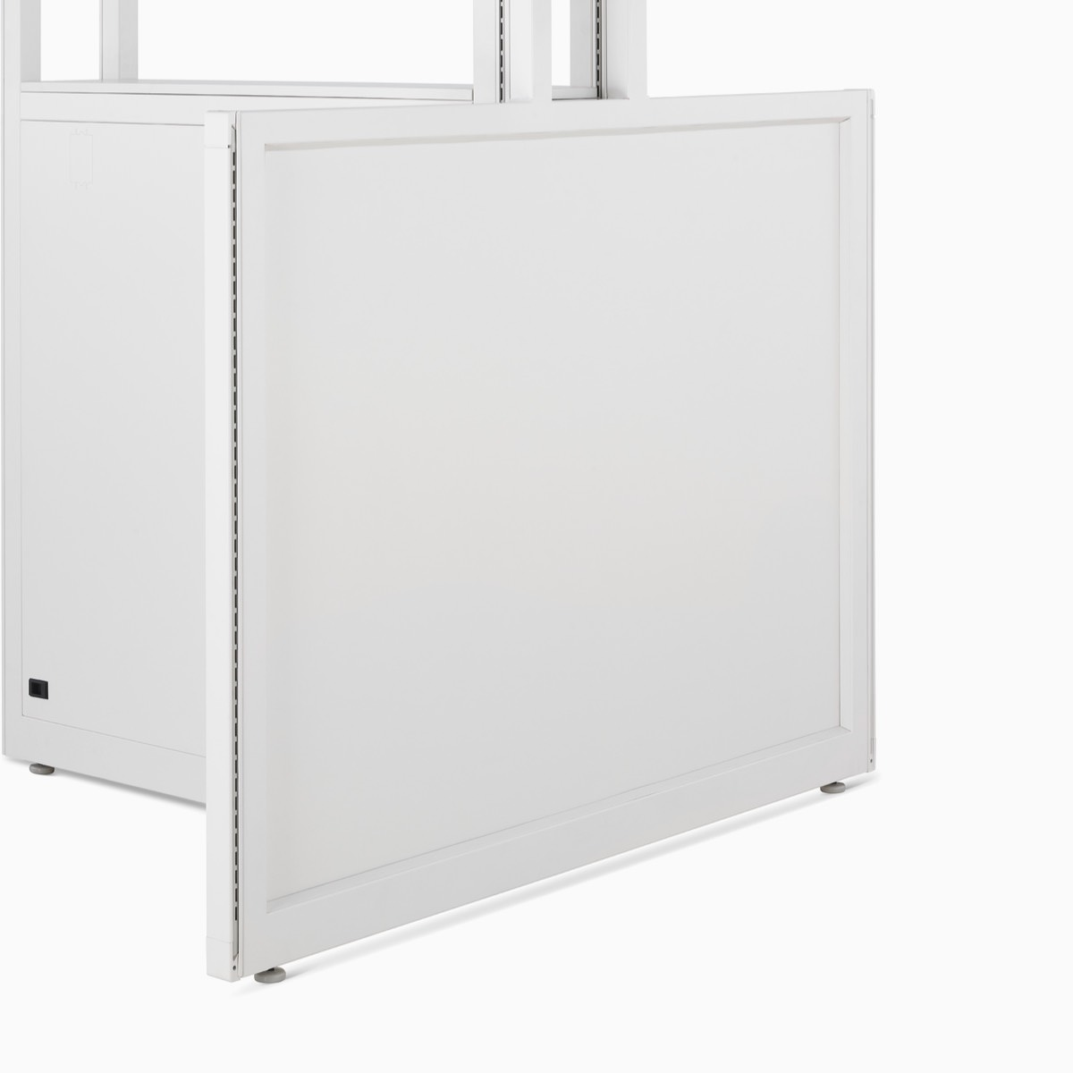 Detail of Co/Struc System frame and panel in soft white.