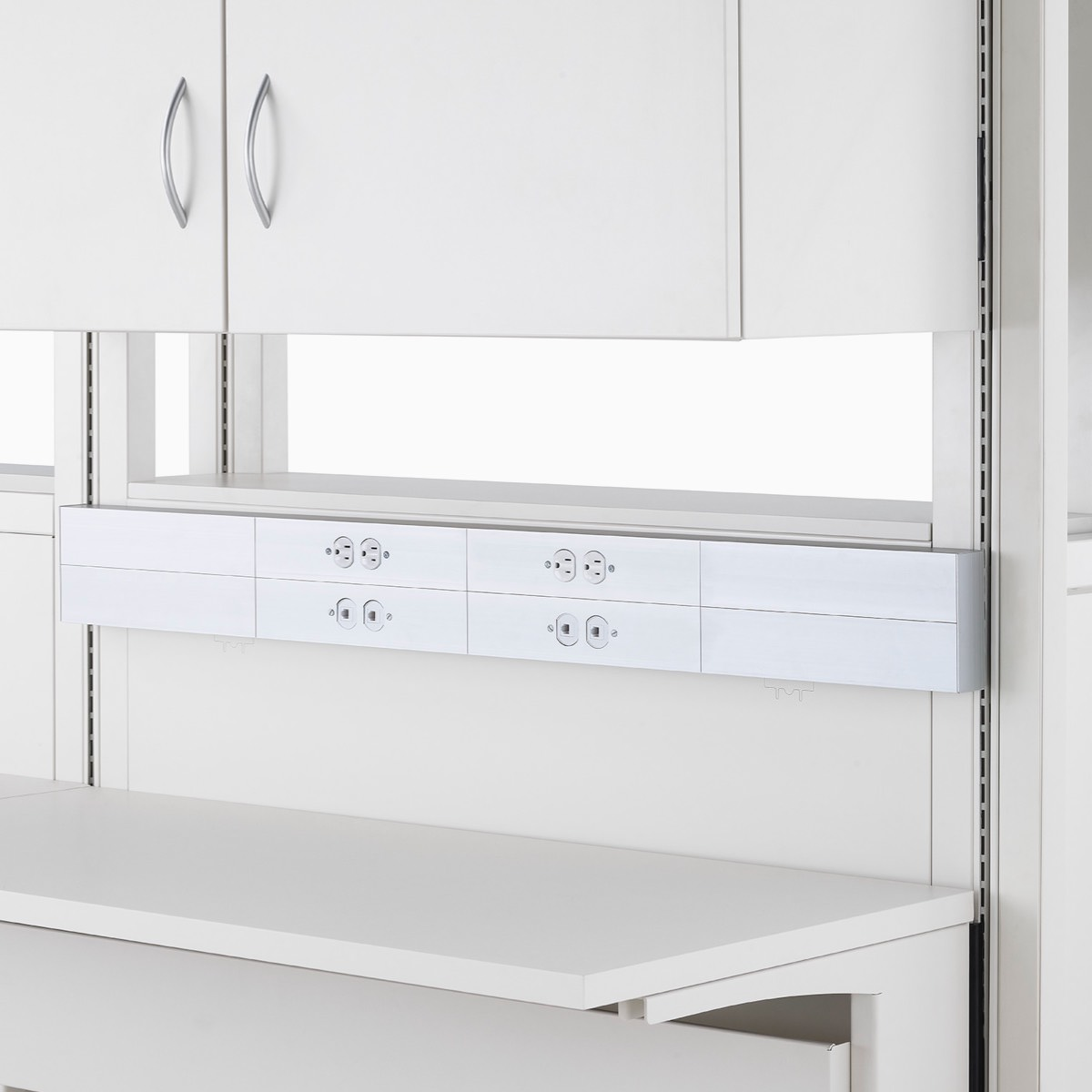 Detail of soft white Co/Struc System frame module with power and data channel access.