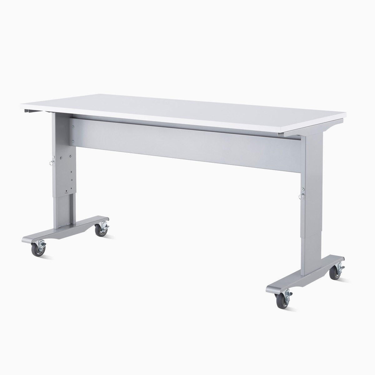 Detail of a Co/Struc System mobile and height-adjustable work process table with a silver frame and white top surface.