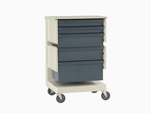 A Co/Struc System healthcare storage cart with casters and blue drawers.