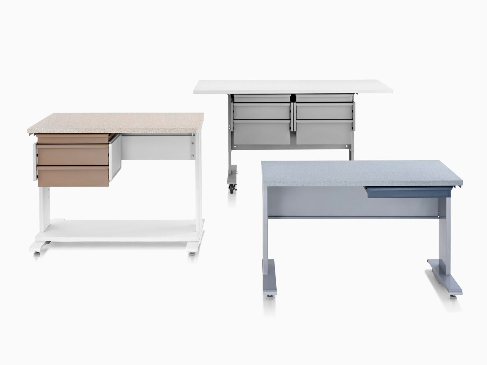 Three Co/Struc System lab work tables in various configurations.