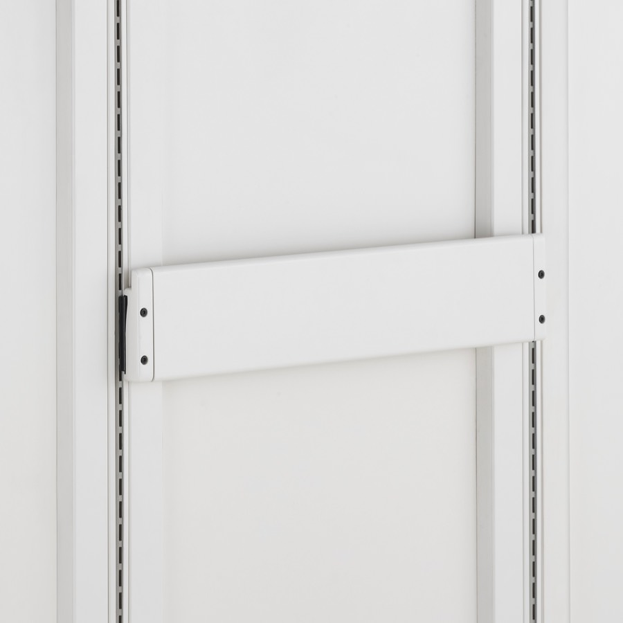 Detail of soft white Co/Struc System frame module with adapter rail for hanging components.