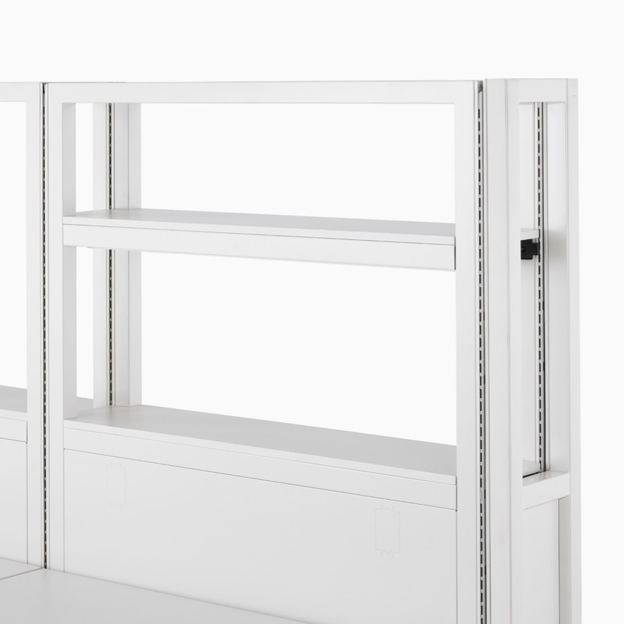 Detail of soft white Co/Struc System frame module and interior shelf.