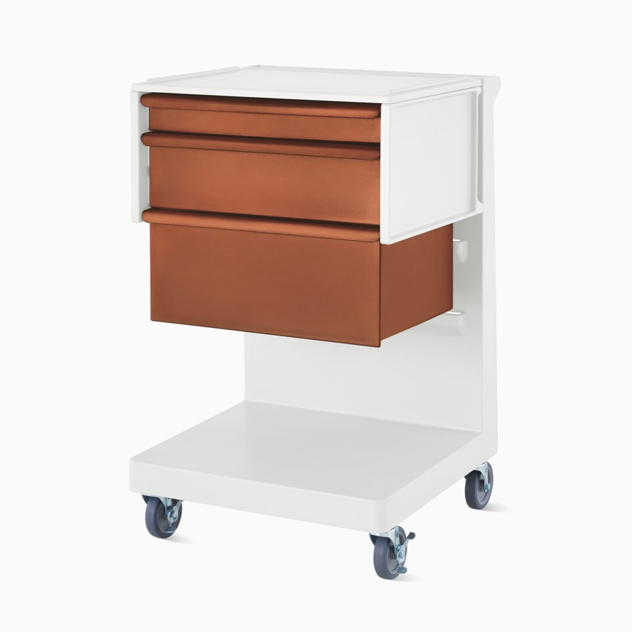 A single L cart in a light gray finish with a C frame in light gray and terra cotta drawers.
