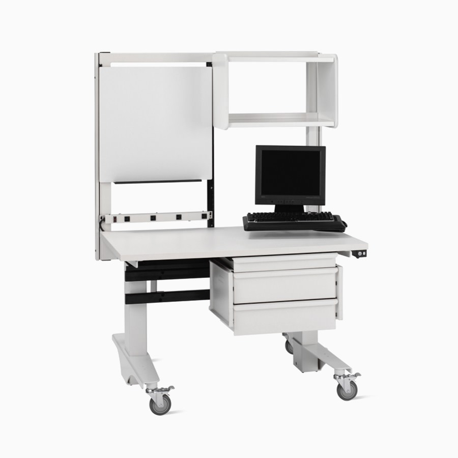 Co/Struc mobile, height-adjustable workstation with a white base and surface.
