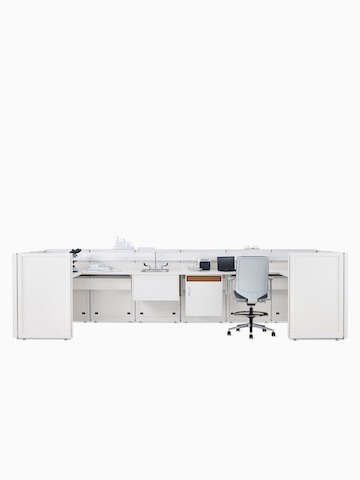 Co/Struc System laboratory bench in soft white with under surface storage, sink, and Verus Stool in light gray.