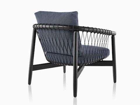 Blue Crosshatch Chair with black frame, viewed from behind at an angle.