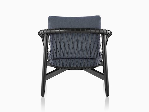Blue Crosshatch Chair with black frame, viewed from behind.