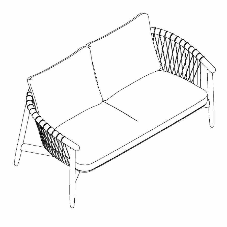 An illustration of the Crosshatch Settee viewed at an angle.